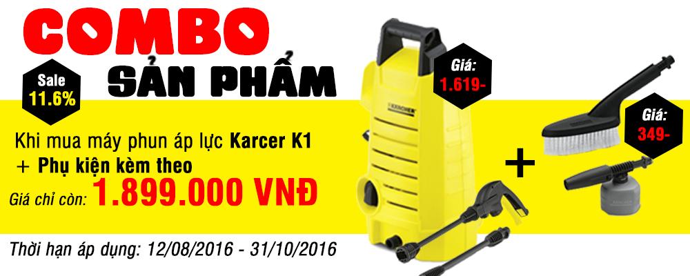 Khi mua máy phun áp lực Karcer K1 + Phụ kiện kèm theo(Giá phụ kiện: 349.000 VNĐ) giá chỉ còn 1.899.000 VNĐ